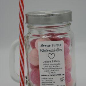 Mini Bruisballen - Jojoba & Kersen aroma in glazen Cocktailbeker met rietje